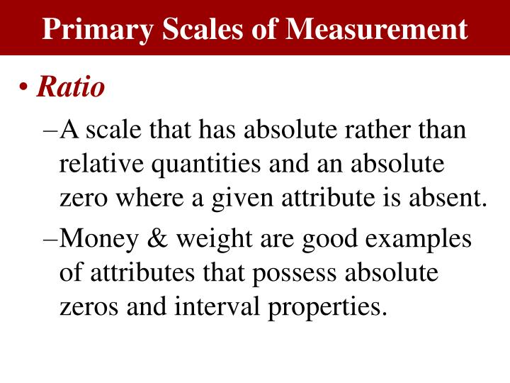 Primary Scales of Measurement