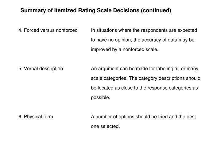 Table 10.2 Summary of Itemized Scale Decisions (Cont.)