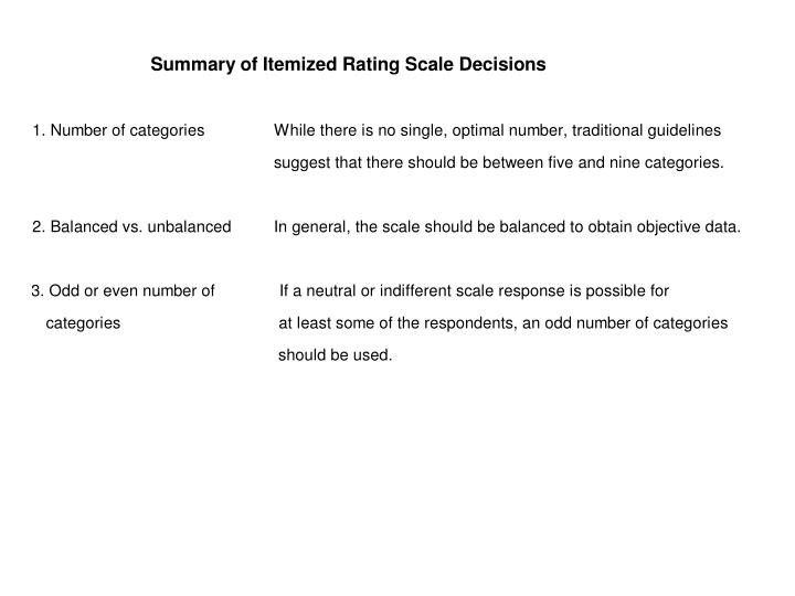 Table 10.2 Summary of Itemized Scale Decisions