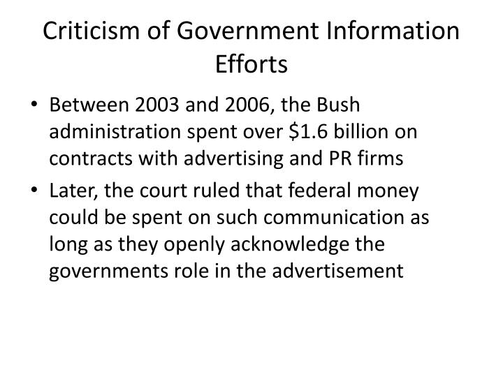 Criticism of Government Information Efforts