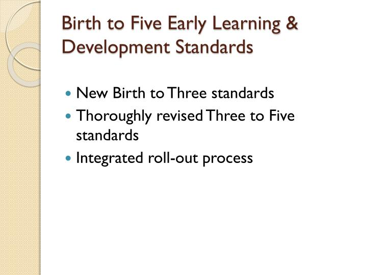 Birth to Five Early Learning & Development Standards