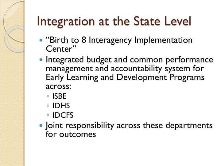 Integration at the State Level