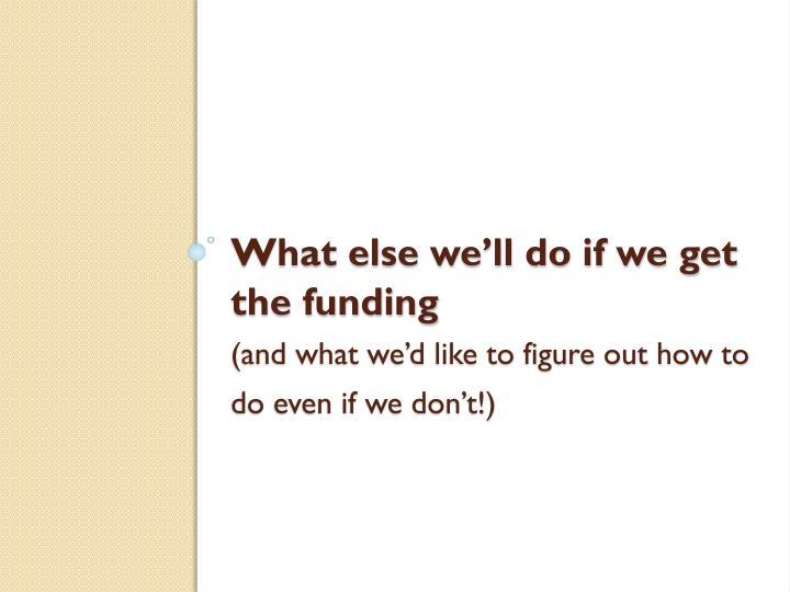 What else we'll do if we get the funding