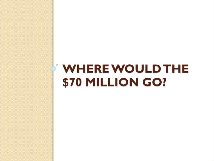 Where would the $70 million go?