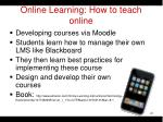 online learning how to teach online