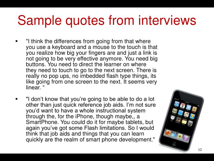 Sample quotes from interviews