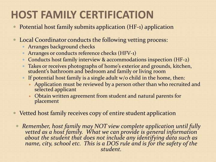 HOST FAMILY CERTIFICATION