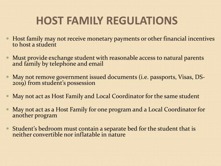HOST FAMILY REGULATIONS