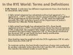 in the rye world terms and definitions