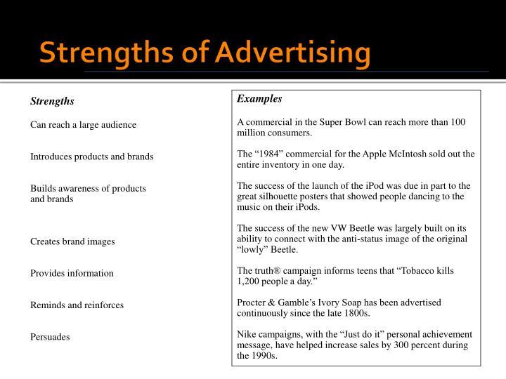 Strengths of Advertising