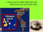1 charles darwin 1809 1882 73yrs old sailed around the world 1831 1836