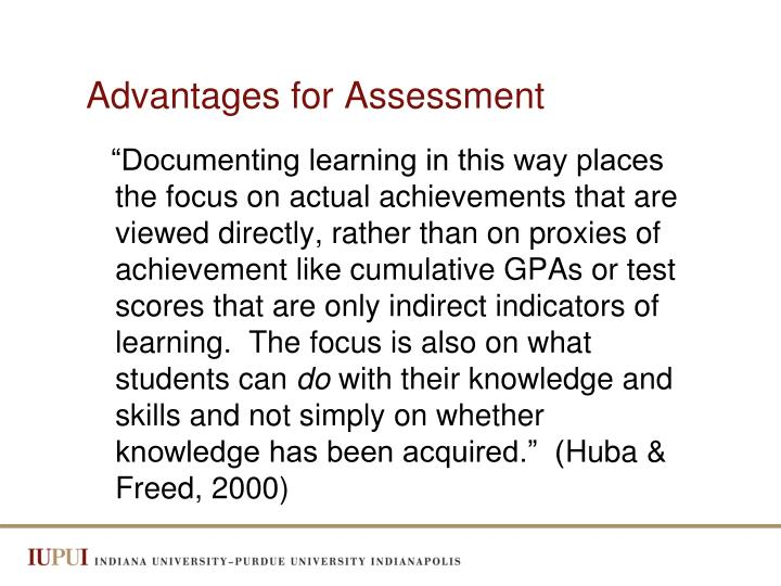 Advantages for Assessment