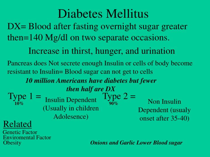 DX= Blood after fasting overnight sugar greater then=140 Mg/dl on two separate occasions.