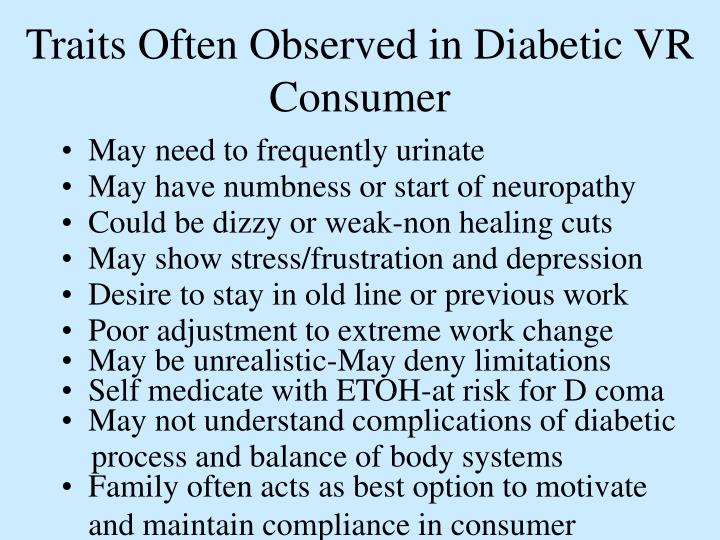 Traits Often Observed in Diabetic VR Consumer