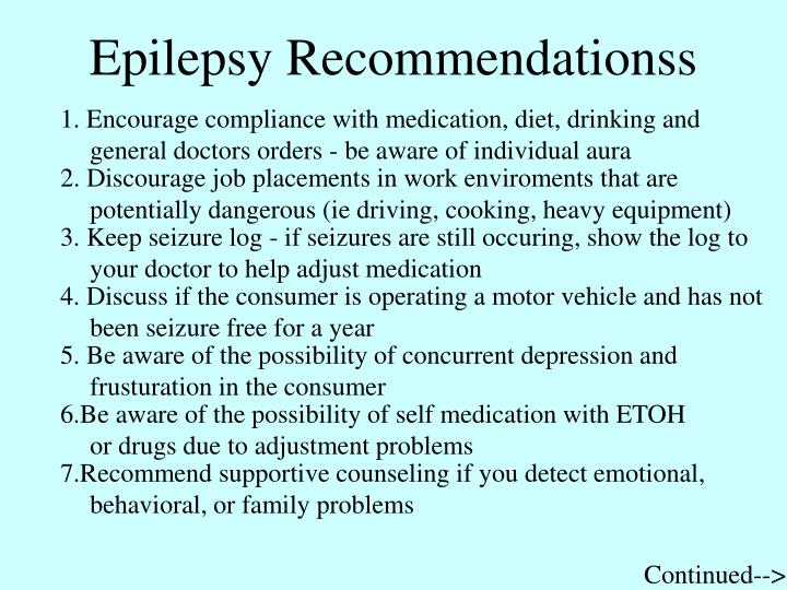 Epilepsy Recommendationss
