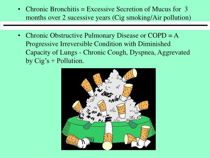 Chronic Bronchitis = Excessive Secretion of Mucus for  3 months over 2 sucessive years (Cig smoking/Air pollution)