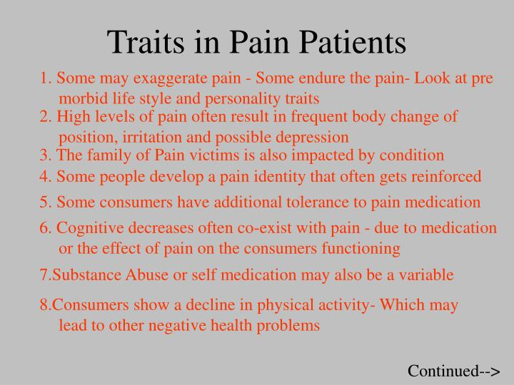 Traits in Pain Patients