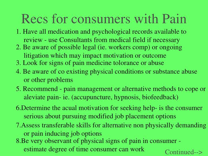 Recs for consumers with Pain