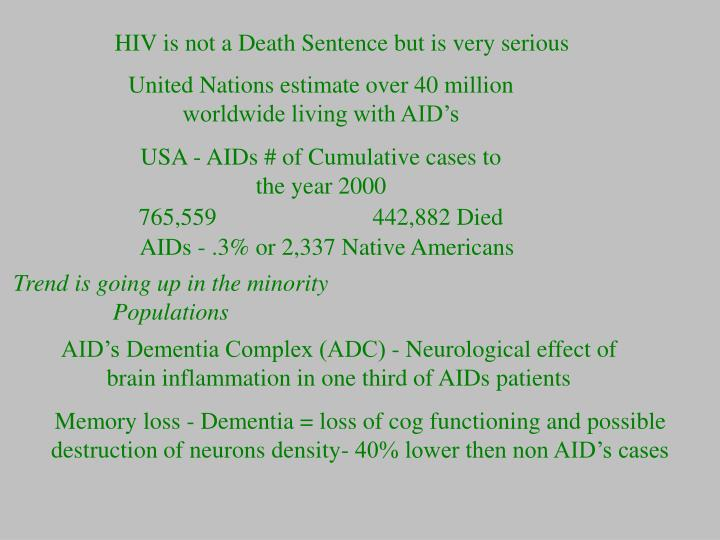 HIV is not a Death Sentence but is very serious