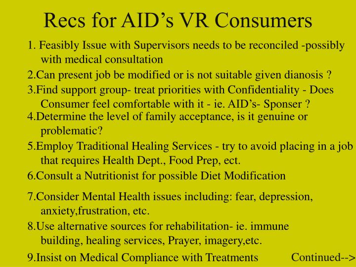Recs for AID's VR Consumers