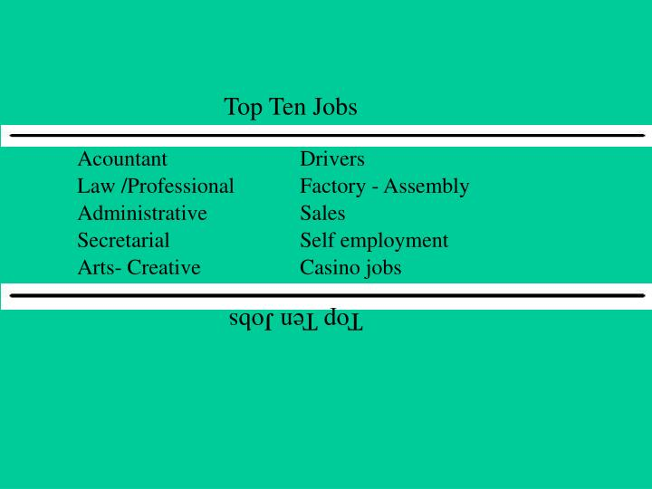 Top Ten Jobs