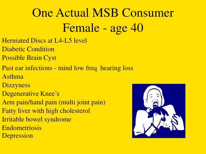 One Actual MSB Consumer