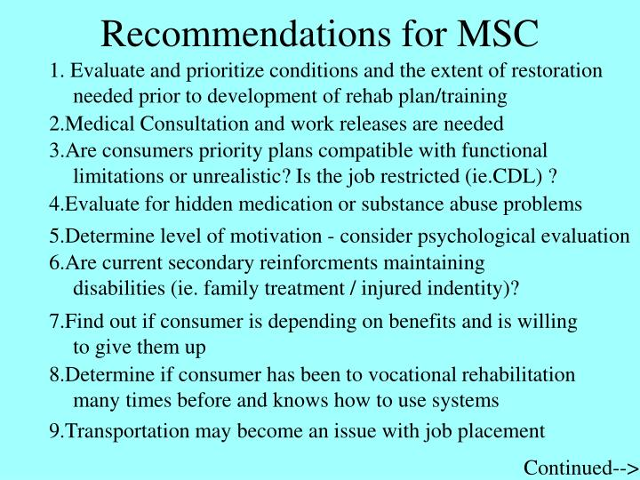 Recommendations for MSC