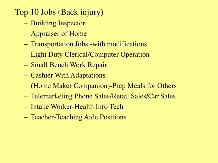 Top 10 Jobs (Back injury)
