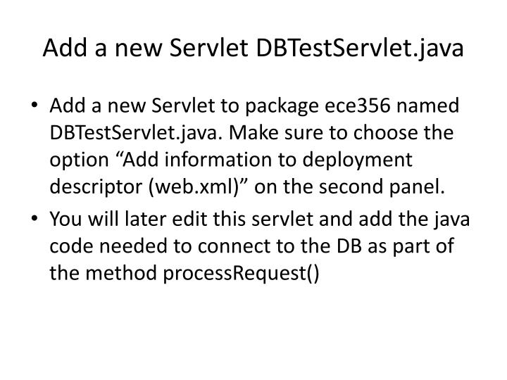 Add a new Servlet