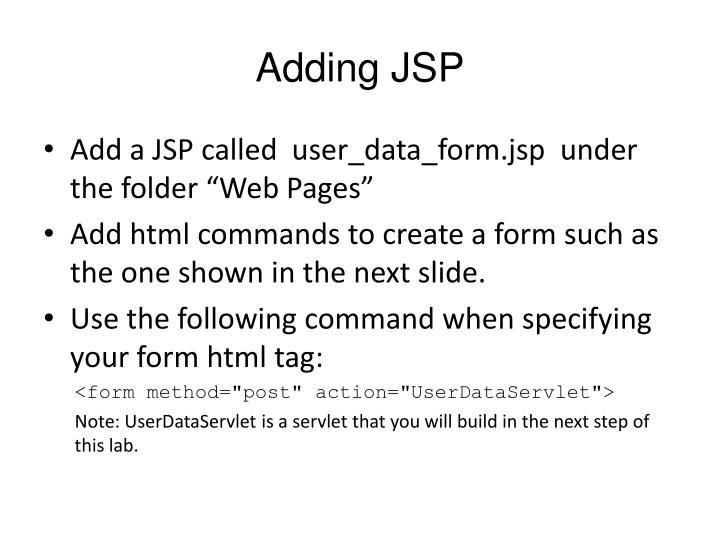 Adding JSP