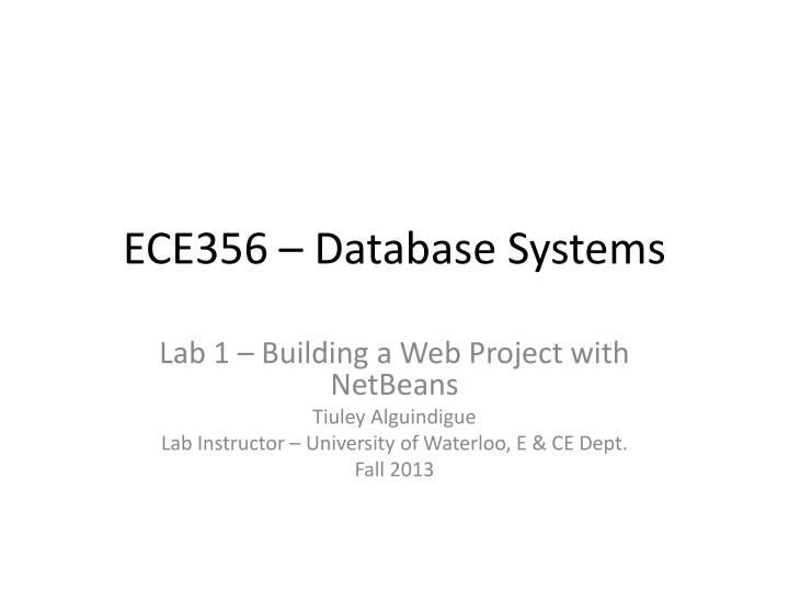 Ece356 database systems