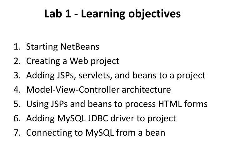 Lab 1 - Learning objectives