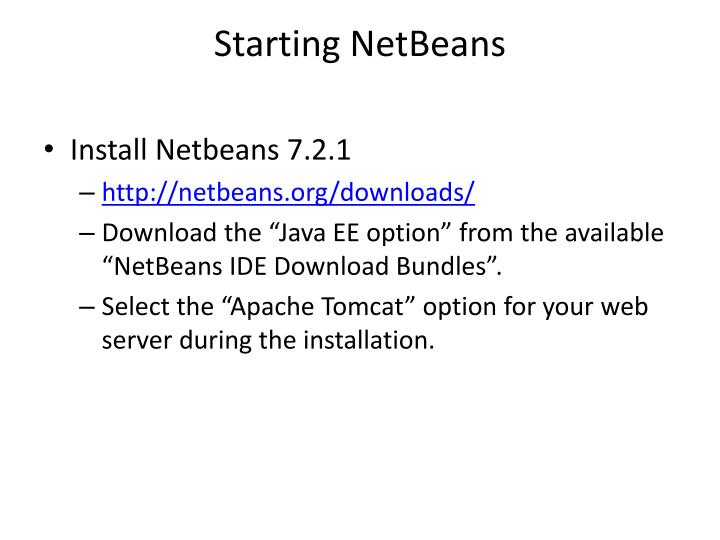 Starting netbeans