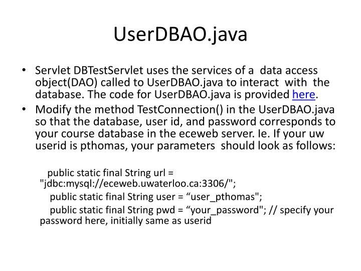UserDBAO.java
