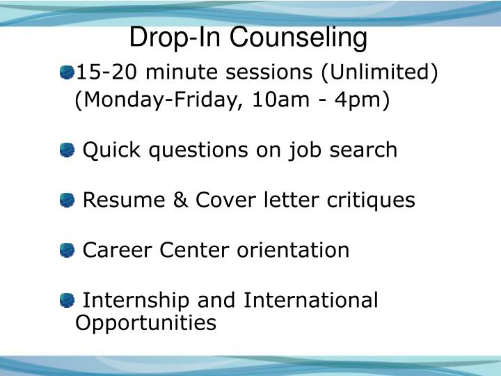 Drop-In Counseling
