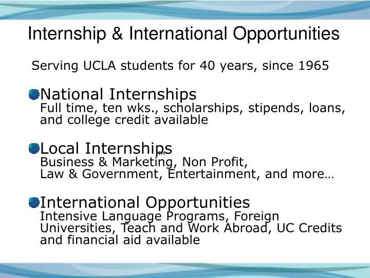 Internship & International Opportunities
