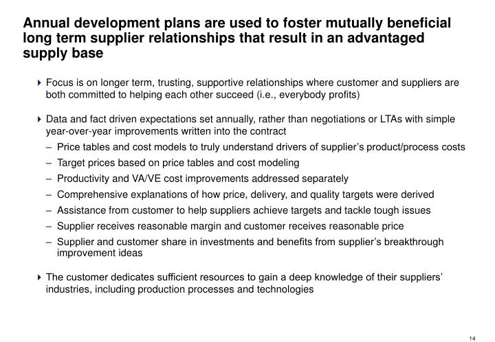 Annual development plans are used to foster mutually beneficial long term supplier relationships that result in an advantaged supply base