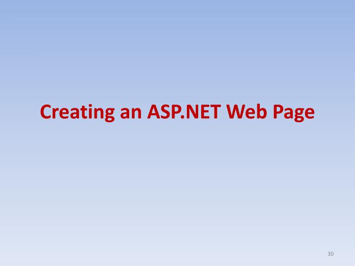 Creating an ASP.NET Web Page