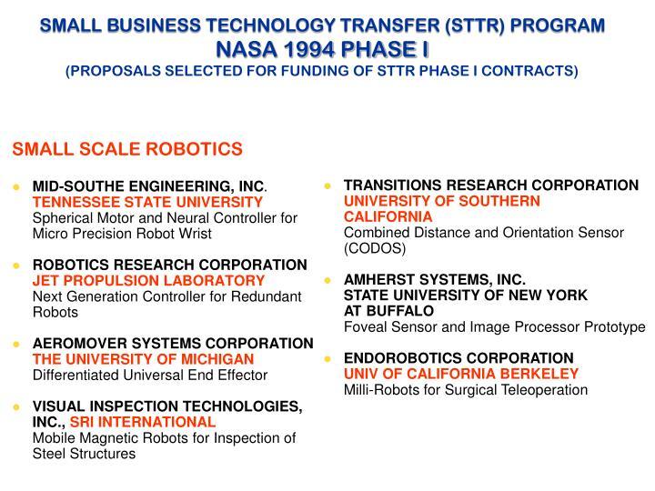 SMALL BUSINESS TECHNOLOGY TRANSFER (STTR) PROGRAM