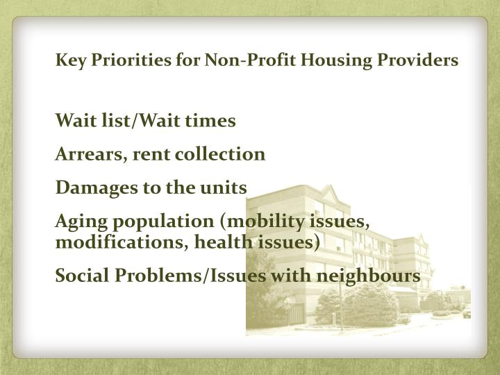 Key Priorities for Non-Profit Housing Providers