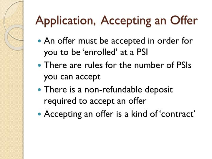Application,  Accepting an Offer