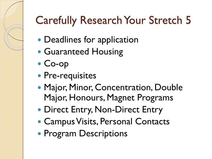 Carefully Research Your Stretch 5