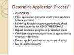 determine application process