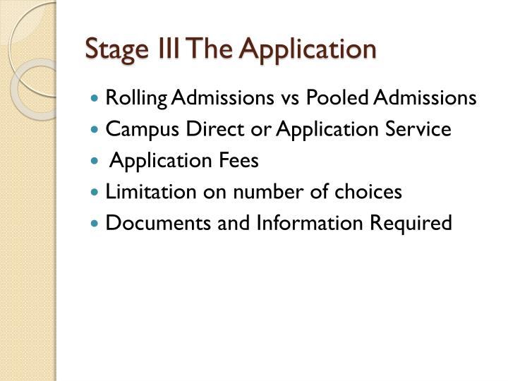 Stage III The Application