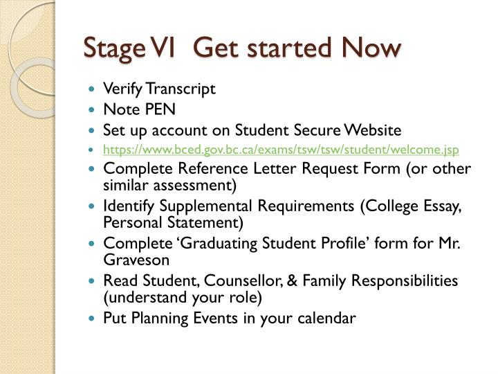 Stage VI  Get started Now