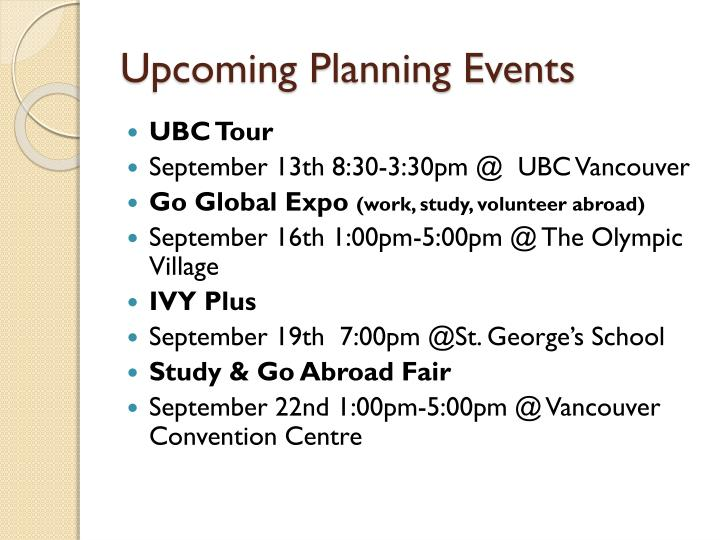 Upcoming Planning Events