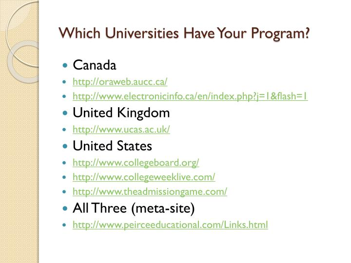 Which Universities Have Your Program?