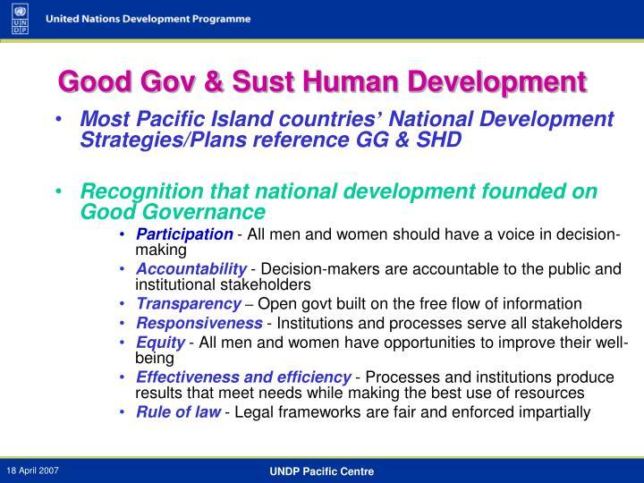 Good Gov & Sust Human Development
