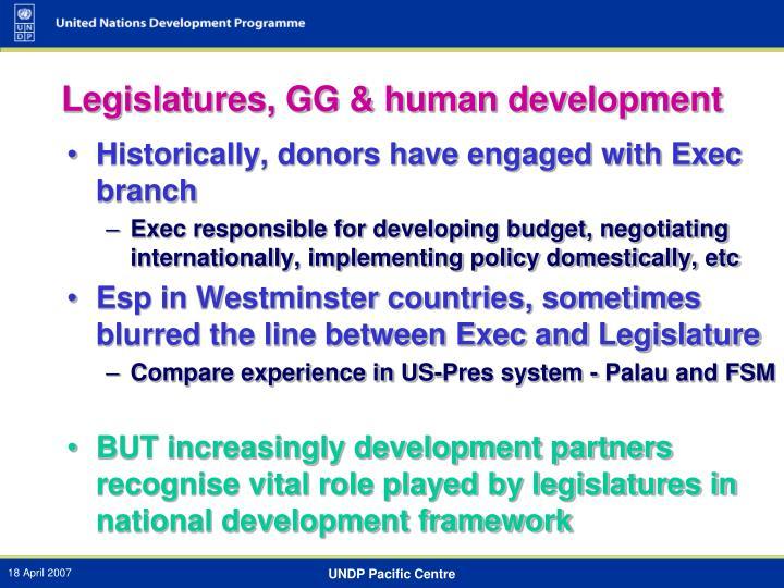 Legislatures, GG & human development