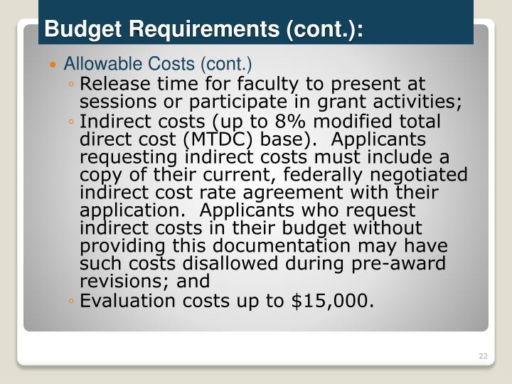 Allowable Costs (cont.)